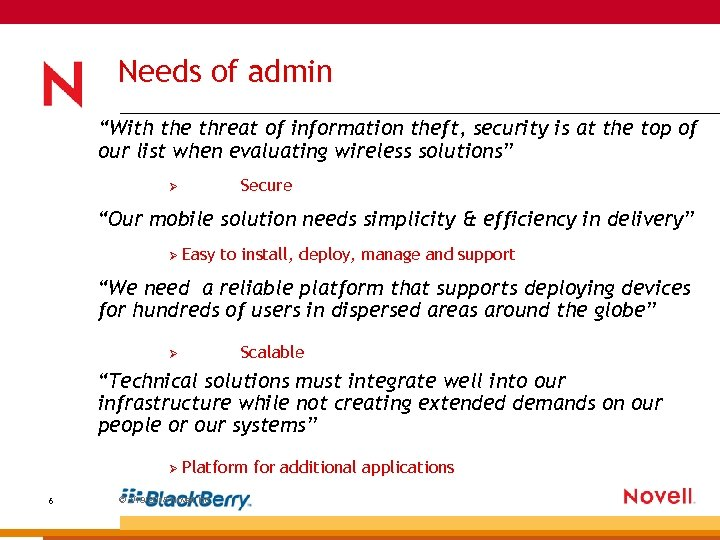 """Needs of admin """"With the threat of information theft, security is at the top"""
