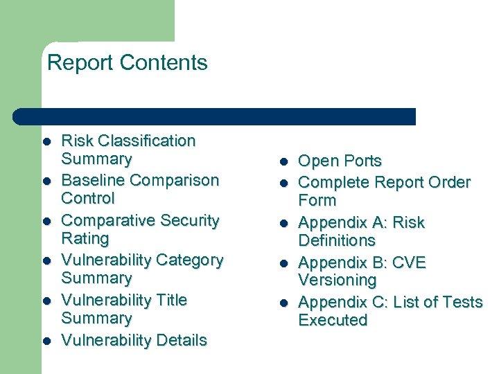 Report Contents l l l Risk Classification Summary Baseline Comparison Control Comparative Security Rating
