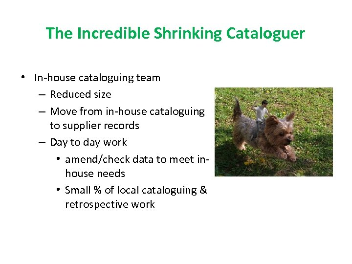 The Incredible Shrinking Cataloguer • In-house cataloguing team – Reduced size – Move from