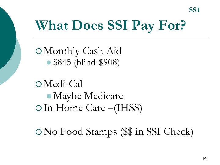 SSI What Does SSI Pay For? ¡ Monthly l $845 Cash Aid (blind-$908) ¡