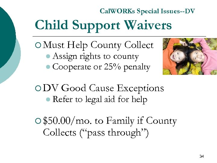 Cal. WORKs Special Issues--DV Child Support Waivers ¡ Must Help County Collect l Assign