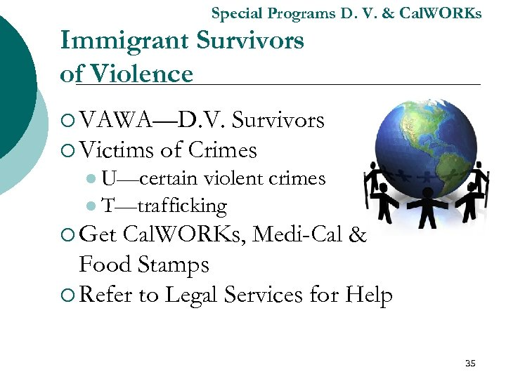 Special Programs D. V. & Cal. WORKs Immigrant Survivors of Violence ¡ VAWA—D. V.