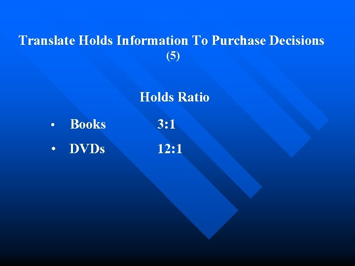 Translate Holds Information To Purchase Decisions (5) Holds Ratio • Books • DVDs 3: