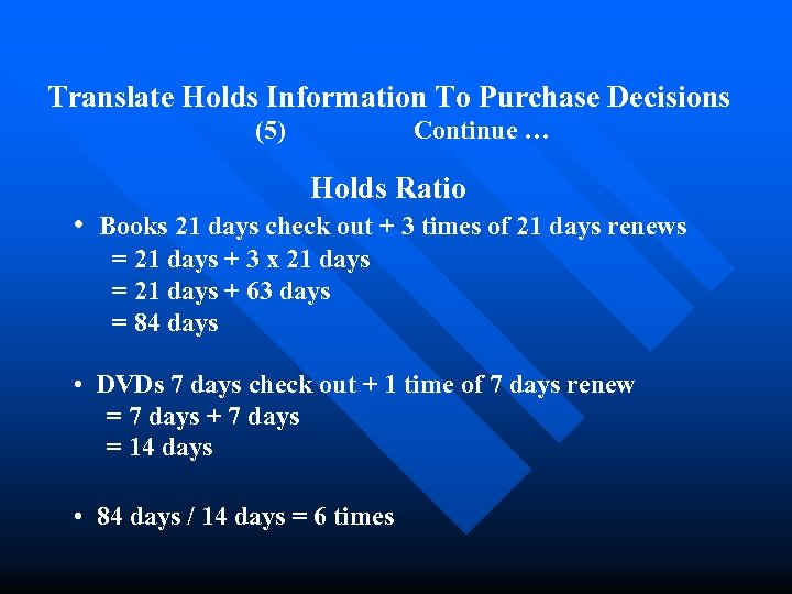 Translate Holds Information To Purchase Decisions (5) Continue … Holds Ratio • Books 21