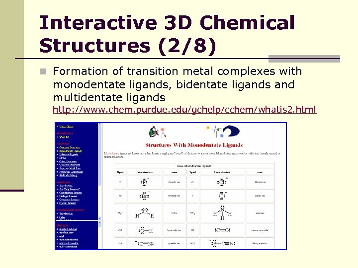 Interactive 3 D Chemical Structures (2/8) n Formation of transition metal complexes with monodentate