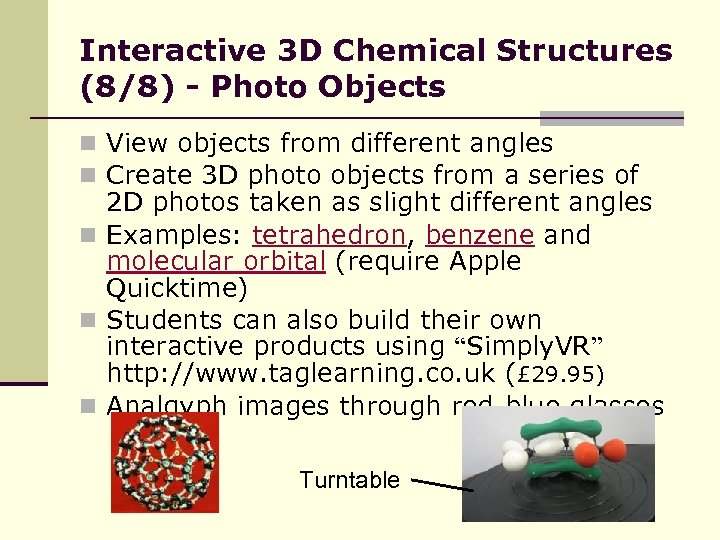 Interactive 3 D Chemical Structures (8/8) - Photo Objects n View objects from different