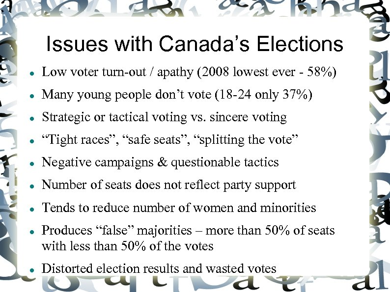 Issues with Canada's Elections Low voter turn-out / apathy (2008 lowest ever - 58%)