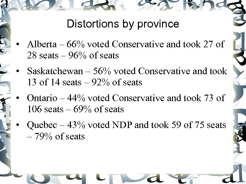 Distortions by province • Alberta – 66% voted Conservative and took 27 of 28
