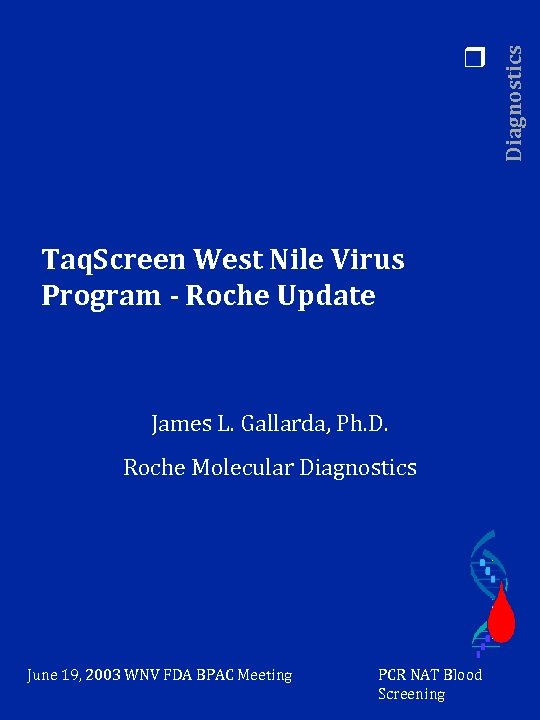 Taq. Screen West Nile Virus Program - Roche Update James L. Gallarda, Ph. D.
