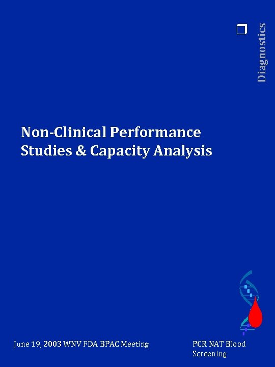 Non-Clinical Performance Studies & Capacity Analysis June 19, 2003 WNV FDA BPAC Meeting PCR