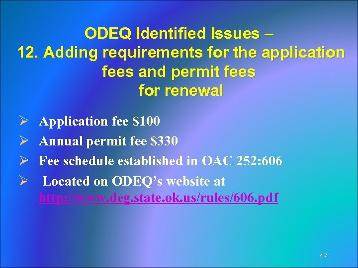 ODEQ Identified Issues – 12. Adding requirements for the application fees and permit fees