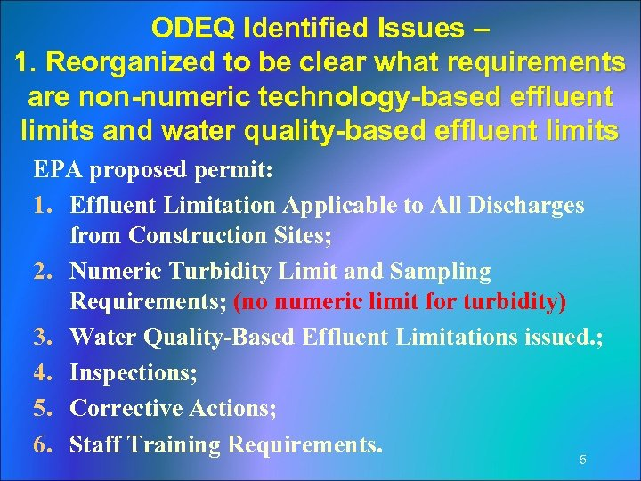 ODEQ Identified Issues – 1. Reorganized to be clear what requirements are non-numeric technology-based