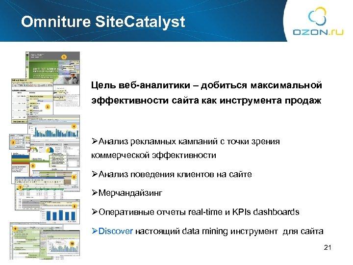 Omniture Site. Catalyst Цель веб-аналитики – добиться максимальной эффективности сайта как инструмента продаж ØАнализ