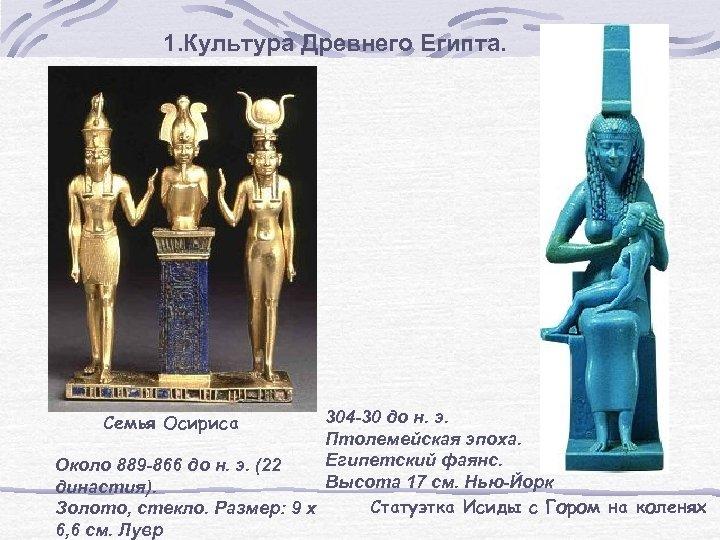 1. Культура Древнего Египта. 304 -30 до н. э. Птолемейская эпоха. Египетский фаянс. Около