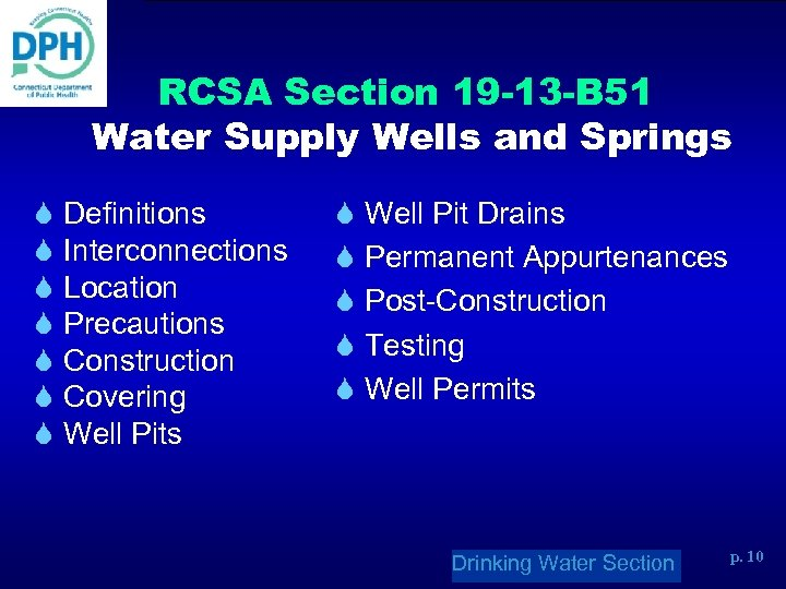 RCSA Section 19 -13 -B 51 Water Supply Wells and Springs S Definitions S