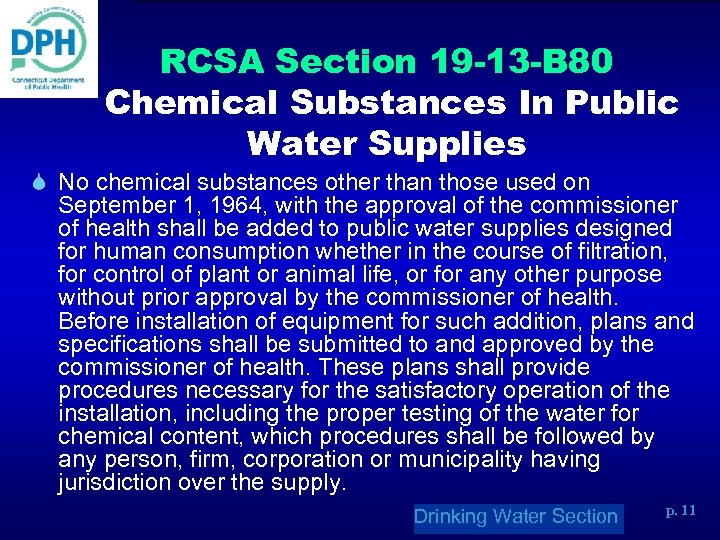 RCSA Section 19 -13 -B 80 Chemical Substances In Public Water Supplies S No