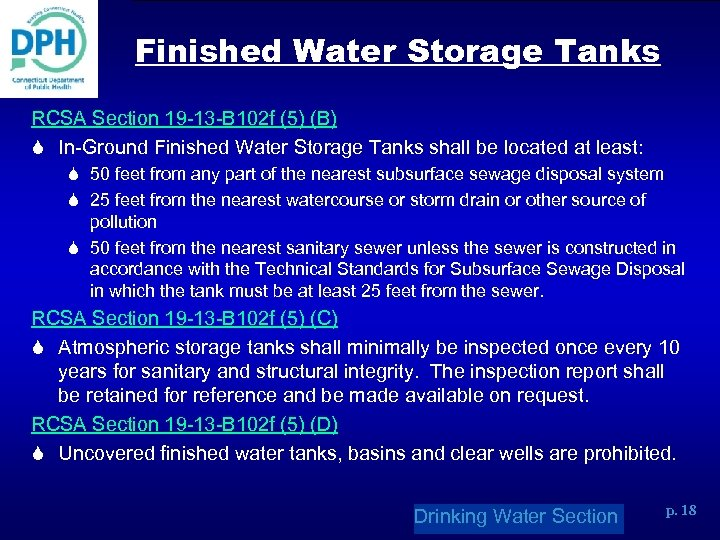 Finished Water Storage Tanks RCSA Section 19 -13 -B 102 f (5) (B) S