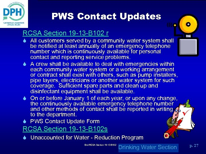 PWS Contact Updates RCSA Section 19 -13 -B 102 r S All customers served