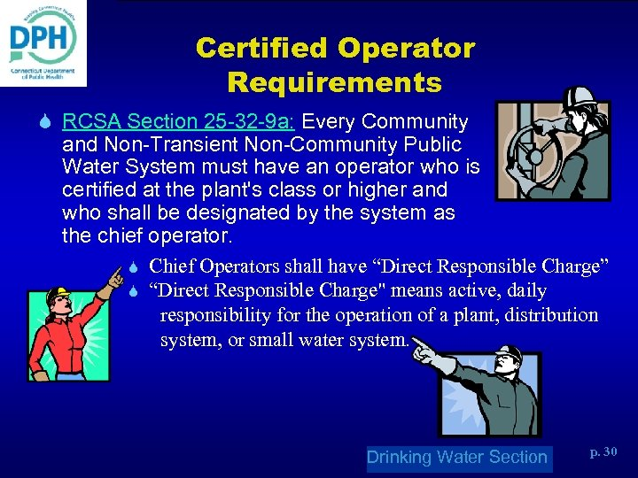 Certified Operator Requirements S RCSA Section 25 -32 -9 a: Every Community and Non-Transient