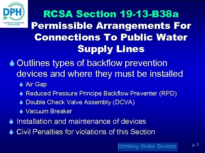 RCSA Section 19 -13 -B 38 a Permissible Arrangements For Connections To Public Water