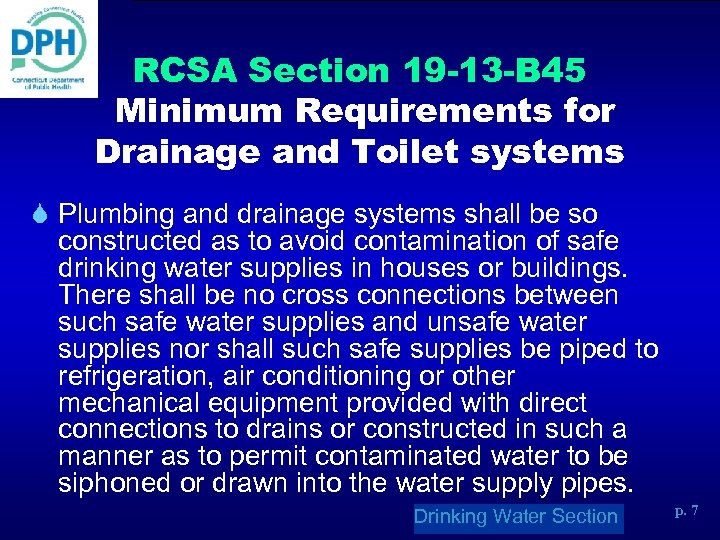 RCSA Section 19 -13 -B 45 Minimum Requirements for Drainage and Toilet systems S