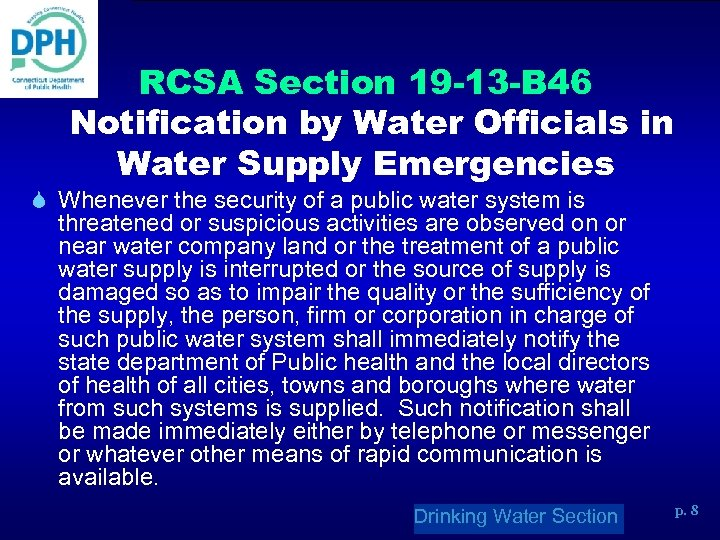 RCSA Section 19 -13 -B 46 Notification by Water Officials in Water Supply Emergencies