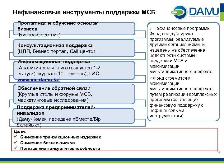 Нефинансовые инструменты поддержки МСБ Пропаганда и обучение основам бизнеса (Бизнес-Советник) Консультационная поддержка (ЦПП, Бизнес-портал,