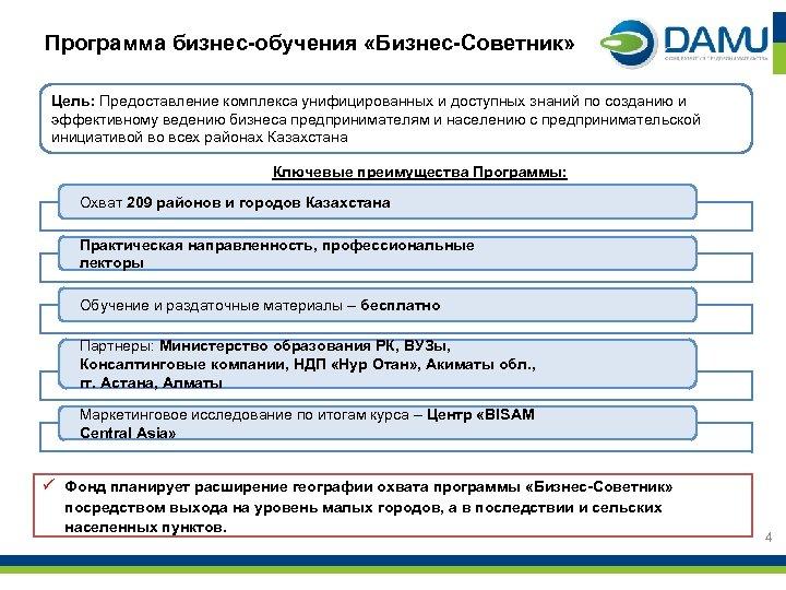 Программа бизнес-обучения «Бизнес-Советник» Цель: Предоставление комплекса унифицированных и доступных знаний по созданию и эффективному