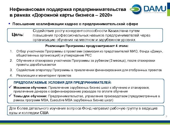Нефинансовая поддержка предпринимательства в рамках «Дорожной карты бизнеса – 2020» § Повышение квалификации кадров