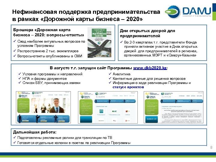 Нефинансовая поддержка предпринимательства в рамках «Дорожной карты бизнеса – 2020» Брошюра «Дорожная карта бизнеса