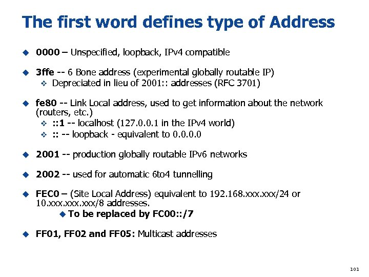 The first word defines type of Address u 0000 – Unspecified, loopback, IPv 4
