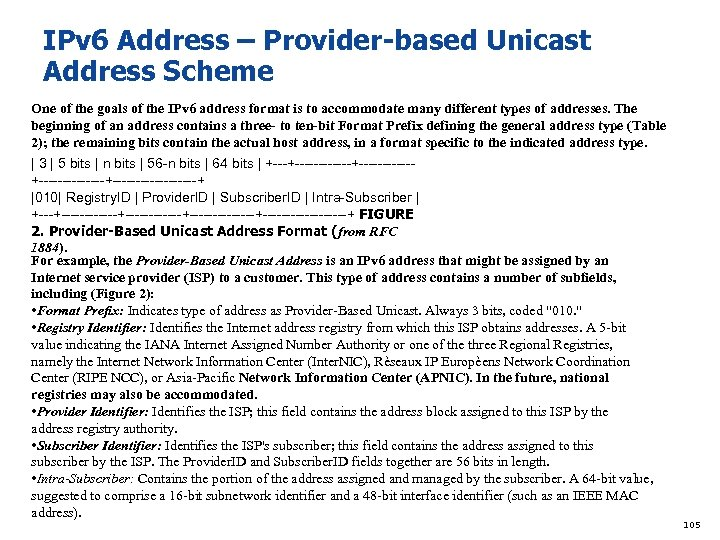 IPv 6 Address – Provider-based Unicast Address Scheme One of the goals of the