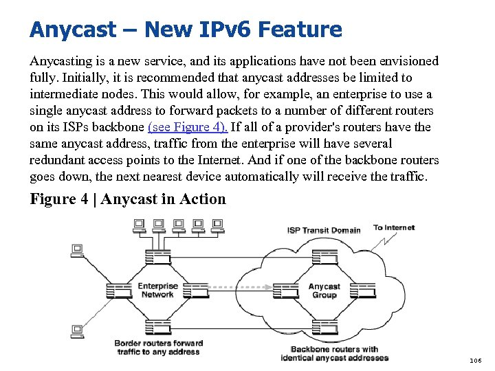 Anycast – New IPv 6 Feature Anycasting is a new service, and its applications