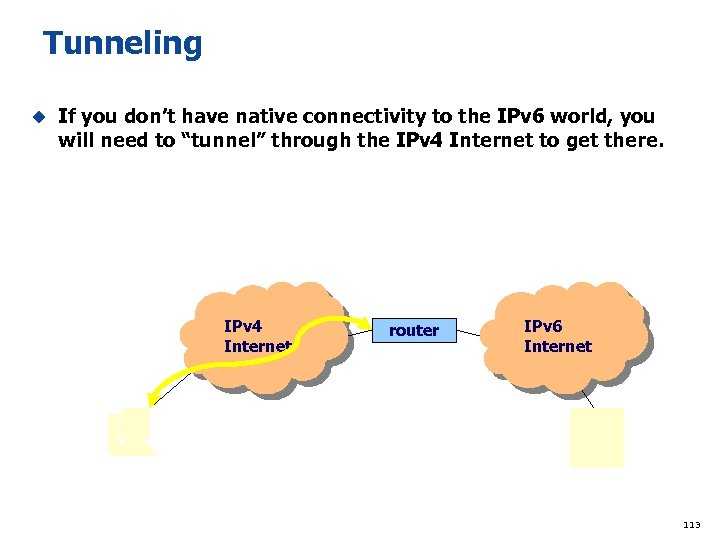 Tunneling u If you don't have native connectivity to the IPv 6 world, you