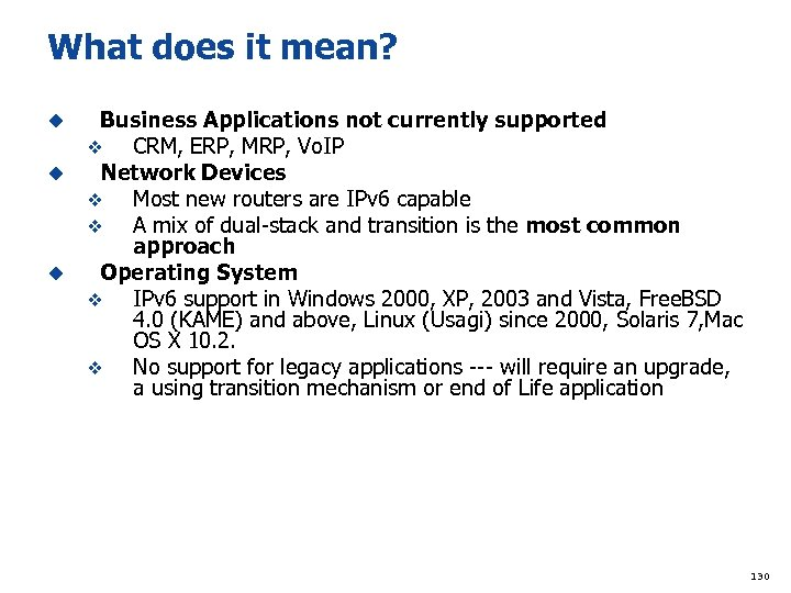 What does it mean? Business Applications not currently supported v CRM, ERP, MRP, Vo.