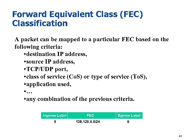 Forward Equivalent Class (FEC) Classification A packet can be mapped to a particular FEC