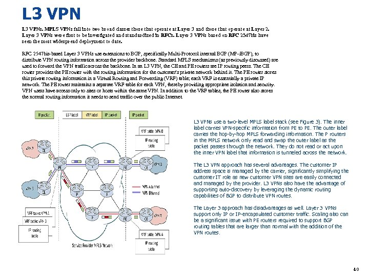 L 3 VPNs. MPLS VPNs fall into two broad classes those that operate at