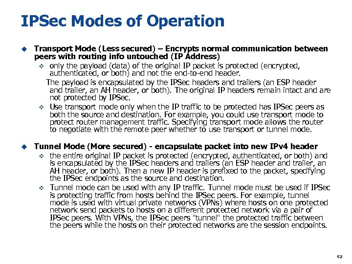 IPSec Modes of Operation u Transport Mode (Less secured) – Encrypts normal communication between