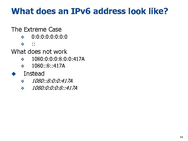 What does an IPv 6 address look like? The Extreme Case v v 0: