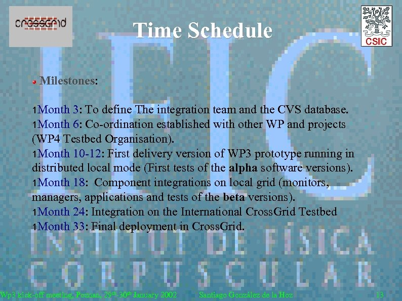 Time Schedule Milestones: 1 Month 3: To define The integration team and the CVS