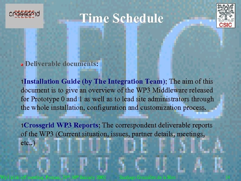 Time Schedule Deliverable documents: 1 Installation Guide (by The Integration Team); The aim of