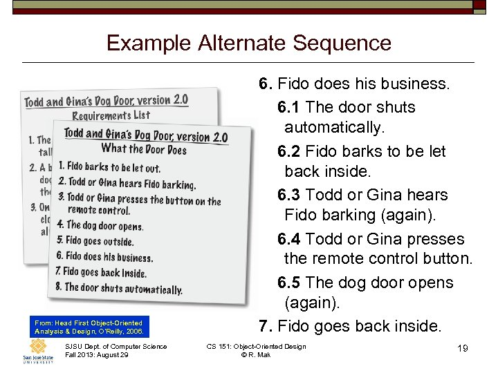Example Alternate Sequence From: Head First Object-Oriented Analysis & Design, O'Reilly, 2006. SJSU Dept.