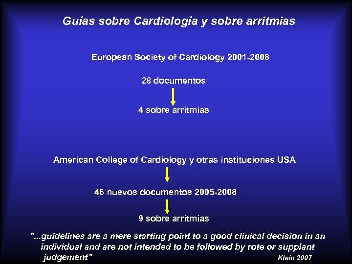 Guías sobre Cardiología y sobre arritmias European Society of Cardiology 2001 -2008 28 documentos