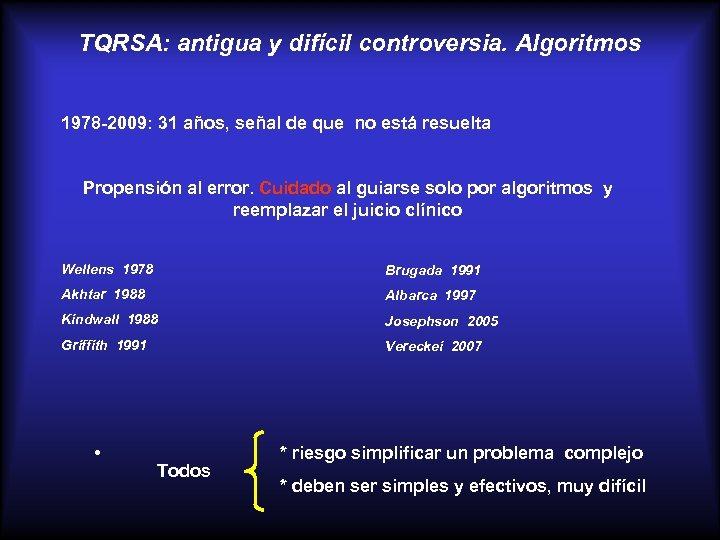 TQRSA: antigua y difícil controversia. Algoritmos 1978 -2009: 31 años, señal de que no