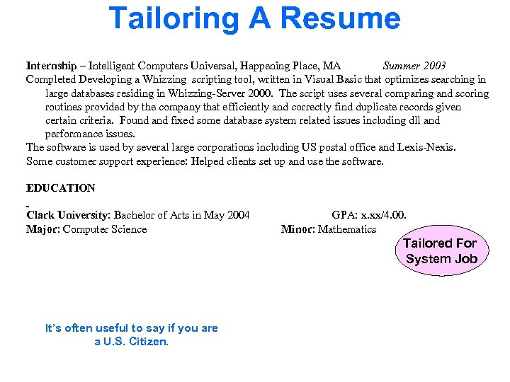 Tailoring A Resume Internship – Intelligent Computers Universal, Happening Place, MA Summer 2003 Completed