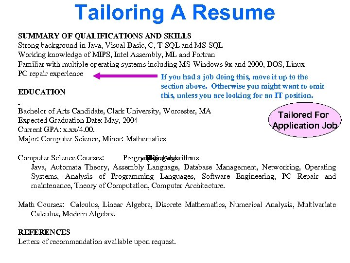 Tailoring A Resume SUMMARY OF QUALIFICATIONS AND SKILLS Strong background in Java, Visual Basic,