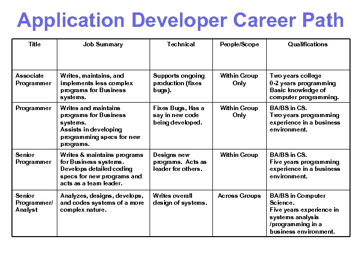 Application Developer Career Path Title Job Summary Technical People/Scope Qualifications Associate Programmer Writes, maintains,