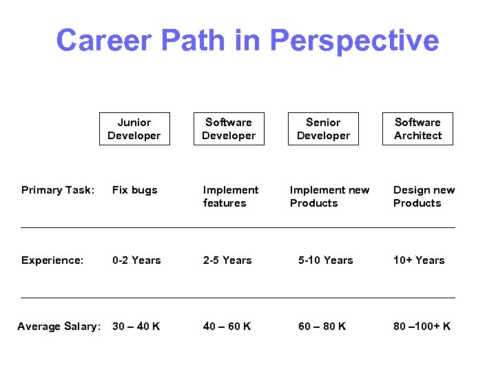 Career Path in Perspective Junior Developer Software Developer Primary Task: Fix bugs Implement features
