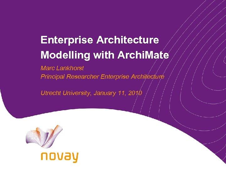 Enterprise Architecture Modelling with Archi. Mate Marc Lankhorst Principal Researcher Enterprise Architecture Utrecht University,