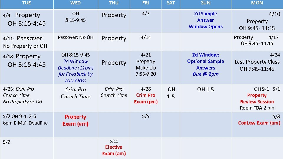 TUE WED THU FRI OH 8: 15 -9: 45 Property 4/7 4/11: Passover: No